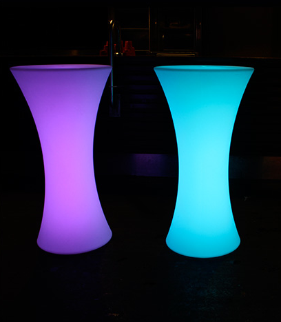 2 glow cocktail bar tables