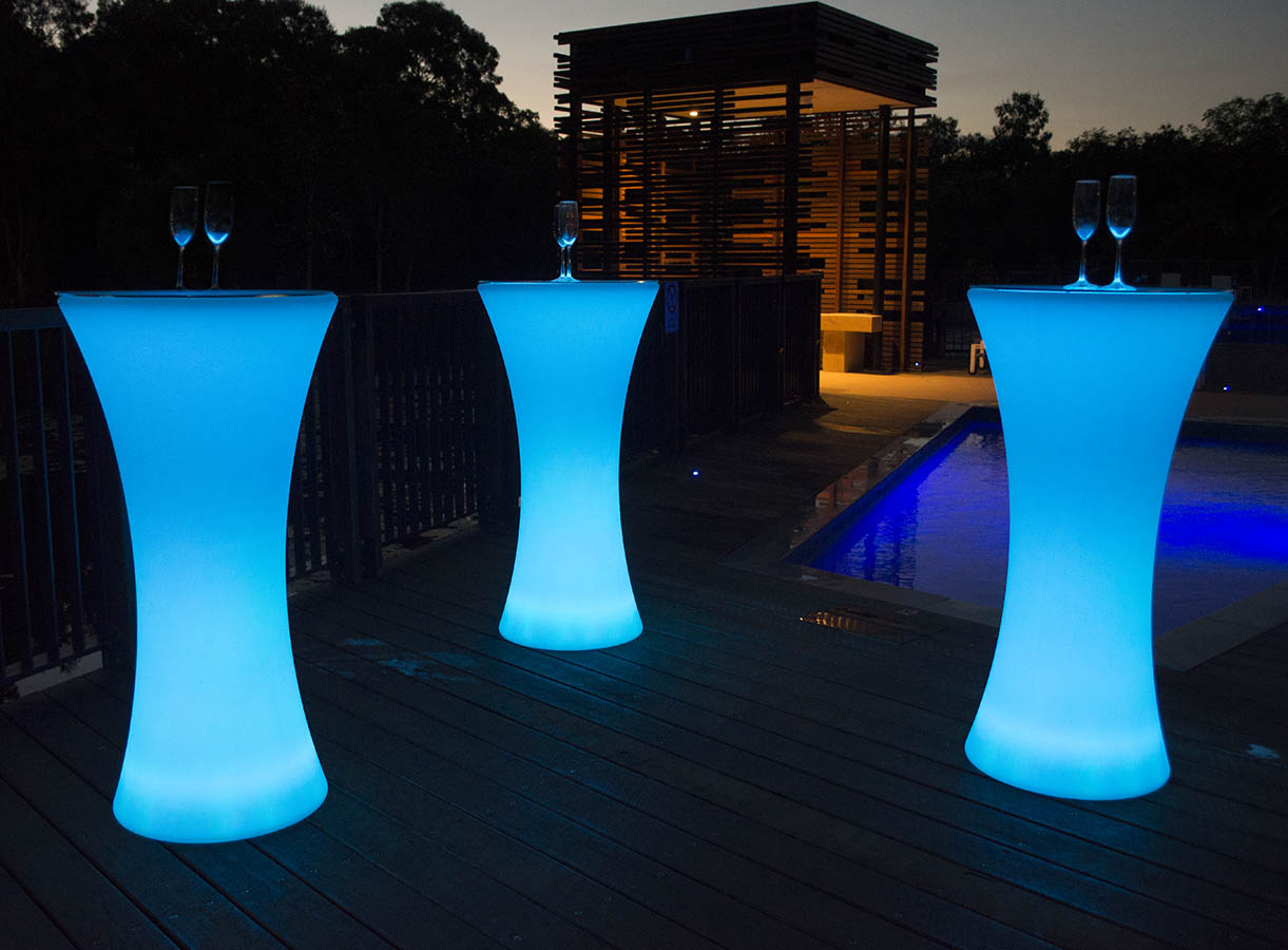 3 glow cocktail bar tables