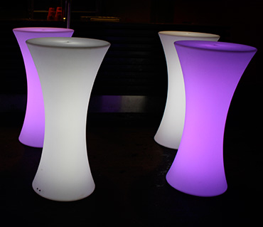 4 glow cocktail bar tables
