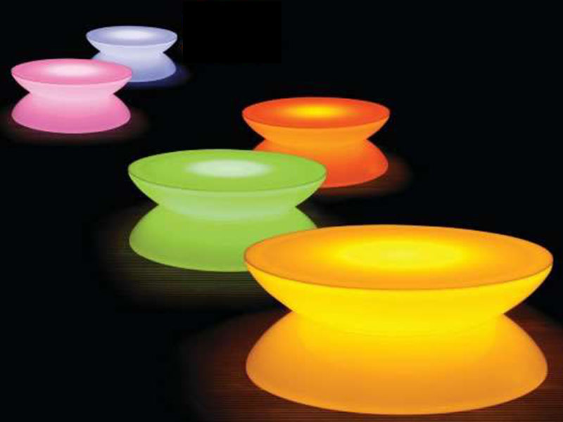 5 glow cafe tables