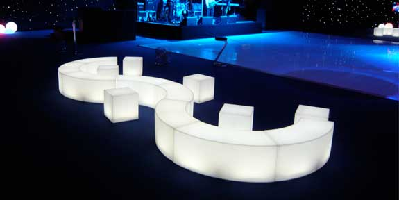 glow curved benche