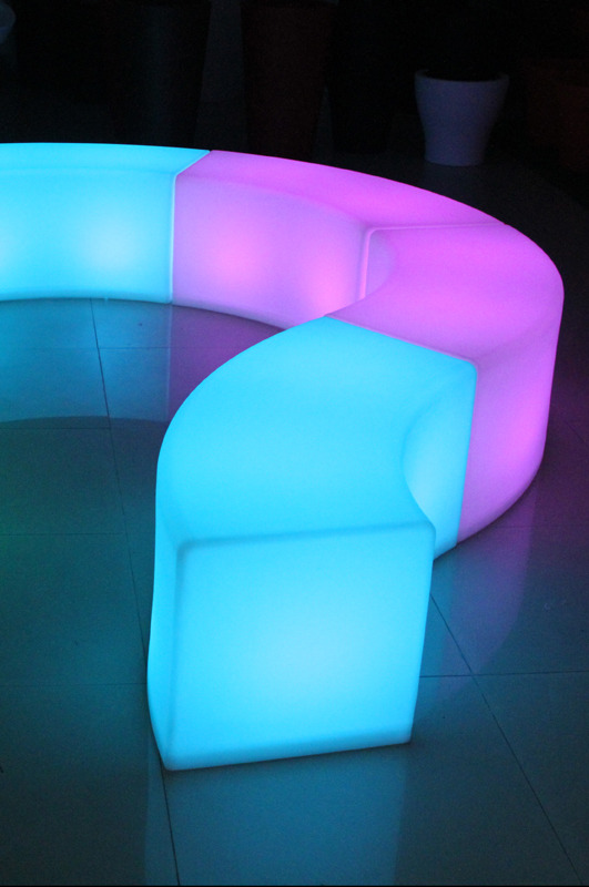 glow curved benches